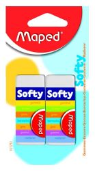 Maped SOFTY Ластик мягкий, в картонном футляре, сделано во Франции, 2 шт