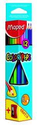 Maped COLOR′PEPS Карандаши цветные из американской липы, треугольные, ударопрочный грифель, в картонном футляре, 12 цветов + Точилка бесплатно