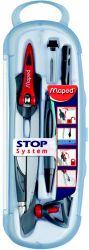 Maped STOP SYSTEM Готовальня с циркуль из цинкового сплава, с запатентованной системой фиксации штанг, 5 предметов, ударопрочный футляр