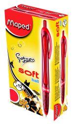 Maped FREEWRITER Ручка шариковая автоматическая, технология Soft Ball, средняя толщина линии - 1мм, обрезиненный красный корпус, красная