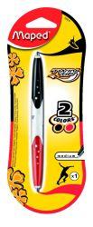 Maped TWIN TIP Ручка шариковая автоматическая двухсторонняя, 2 цвета - синий и черный, средняя толщина линии - 1мм, обрезиненный корпус