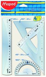 Maped START Набор чертежных инструментов миди: линейка 20см, угольники 21см, транспортир 10см