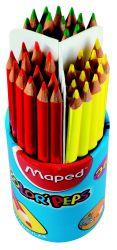 Maped COLOR′PEPS Карандаши цветные из американской липы, треугольные, ударопрочный грифель, в стакане-подставке, 4 стакана по 36 шт, 12 цветов, 144 шт