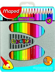 Maped COLOR′PEPS Карандаши цветные из американской липы, треугольные, ударопрочный грифель, в металлической коробке, 18 цветов