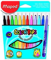 Maped COLOR′PEPS Фломастеры с треугольным заблокированным пишущим узлом - для тонкого письма и раскрашивания, треугольный корпус, супер смываемые, в картонном футляре, 12 цветов
